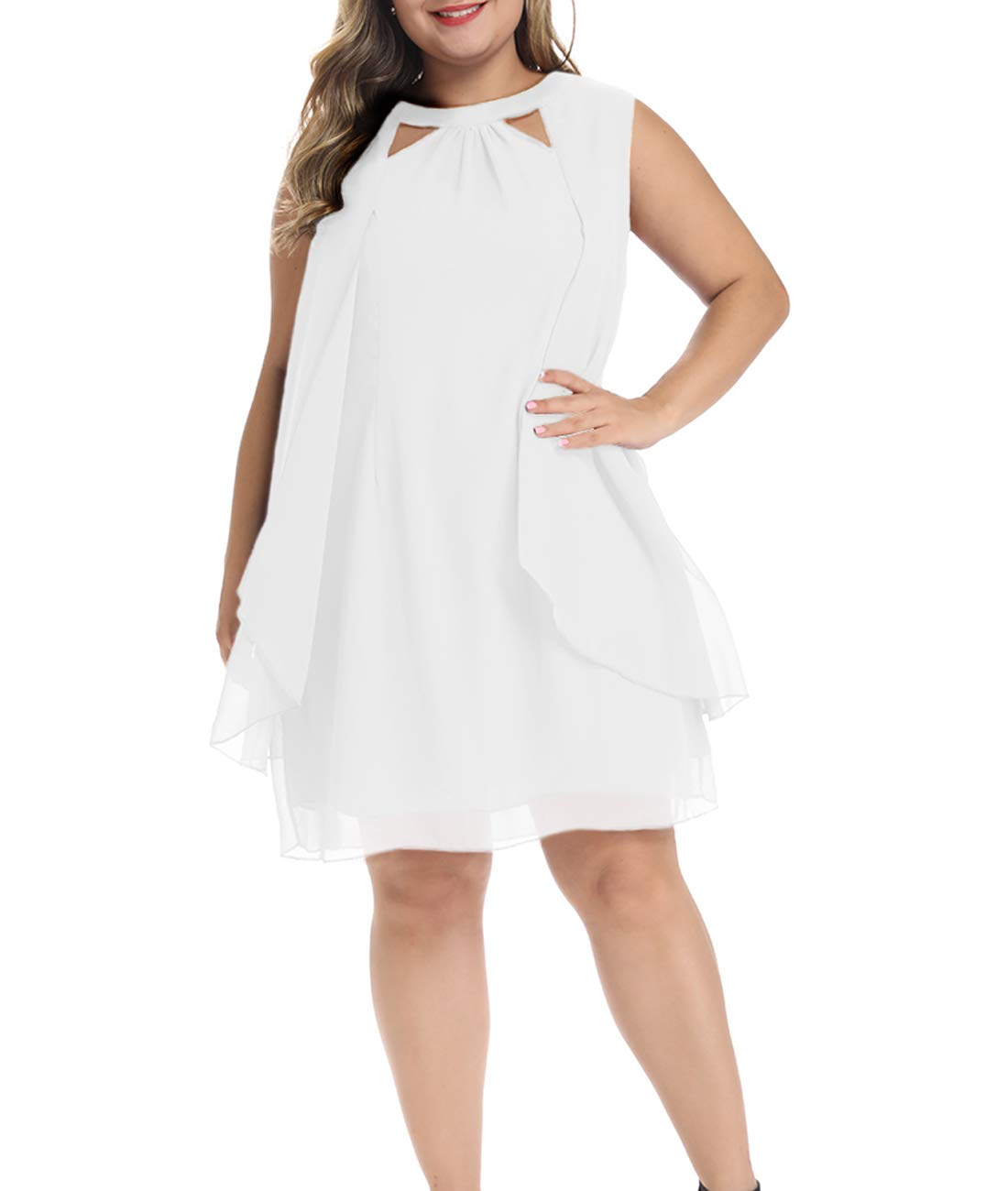 Lalagen Womens Summer Chiffon Sleeveless Plus Size Cocktail Party Knee Length Dress