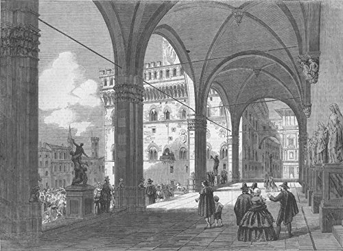 1860 Italy Antique (ITALY. The Piazza del Popolo, Florence - 1860 - old antique vintage print - engraving art picture prints of Italy Towns - Illustrated London News)