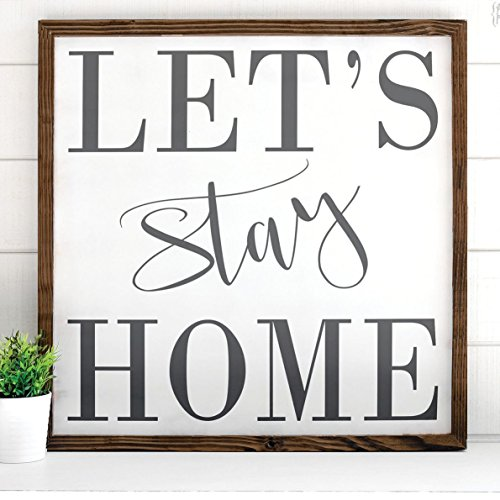 Lazy Home Decors - Let's Stay Home, White Gray - Thick Pine