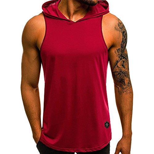 e3e03c97eb829 WUAI Men s Casual Hoodies Workout Tank Tops Sleeveless Sport Pullover  Sweatshirt Loose Tops T-Shirt. Tap to expand