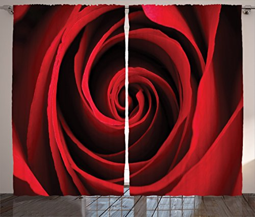Ambesonne Roses Decorations Collection, Rose Romance Sweetheart Valentine Sensual Fragrant Love Symbol Closeup Picture , Living Room Bedroom Curtain 2 Panels Set, 108 X 90 Inches, Red Black