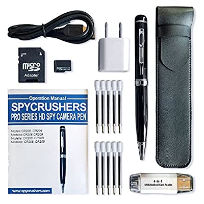 SpyCrushers Spy Pen Camera HD 1080p Pro Series - 16GB Card, Card Adapter, 4-In-1 Card Reader, USB Charger, 10 Ink Refills, PU Leather Pen Case - Video, Photo, PC Webcam & More - Satisfaction Guarantee