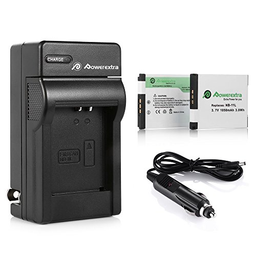 Powerextra 2 Pack Replacement Canon NB-11L / NB-11LH Battery and Charger Compatible with Canon PowerShot A2300 is, A2500, A2600, A4000 is, ELPH 110 HS, ELPH 130 HS, ELPH 135 is, ELPH 160, SX400 is