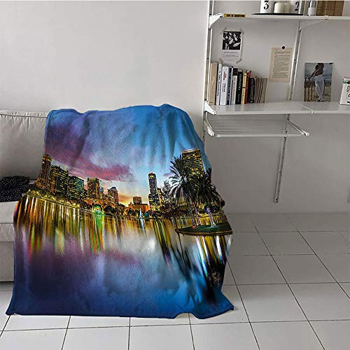 alilihome Children's Blanket Party Oversized Travel Throw Cover Blanket (35 by 60 Inch,Wide Tap,Famous USA Urban Downtown View of Orlando Florida from EOLA Lake Romantic Scene,Blue Yellow