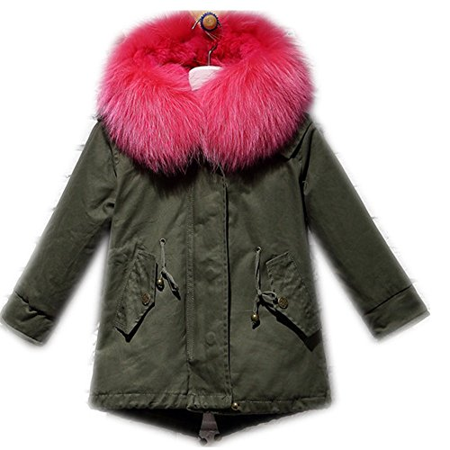 Big Chill Big Girls' Long Expedition Jacket baby real fur coat (12-14 years old, rose) by Gegefur