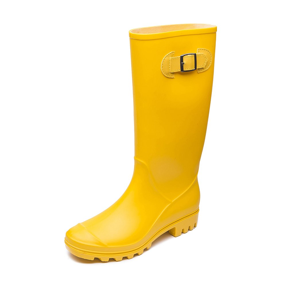 DKSUKO Women's Mid-Calf Waterproof Rain Boots with Buckle Adjustable-Strap Outdoor Tall Rain Boots (10 B(M) US, Yellow)