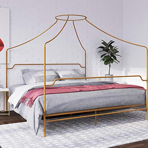 Novogratz Camilla Metal Canopy, King Size Frame, Gold Bed
