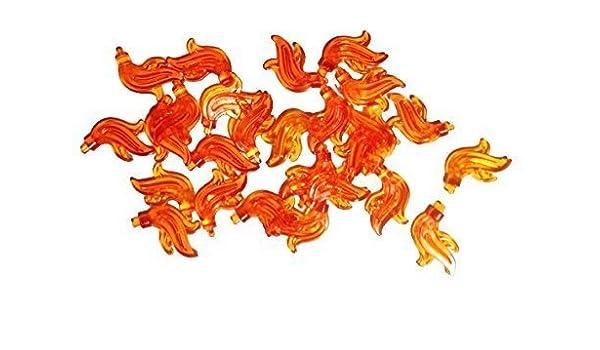 LEGO Plume Feather // Flame Triple Compact Minifig - Trans-Neon Orange X3
