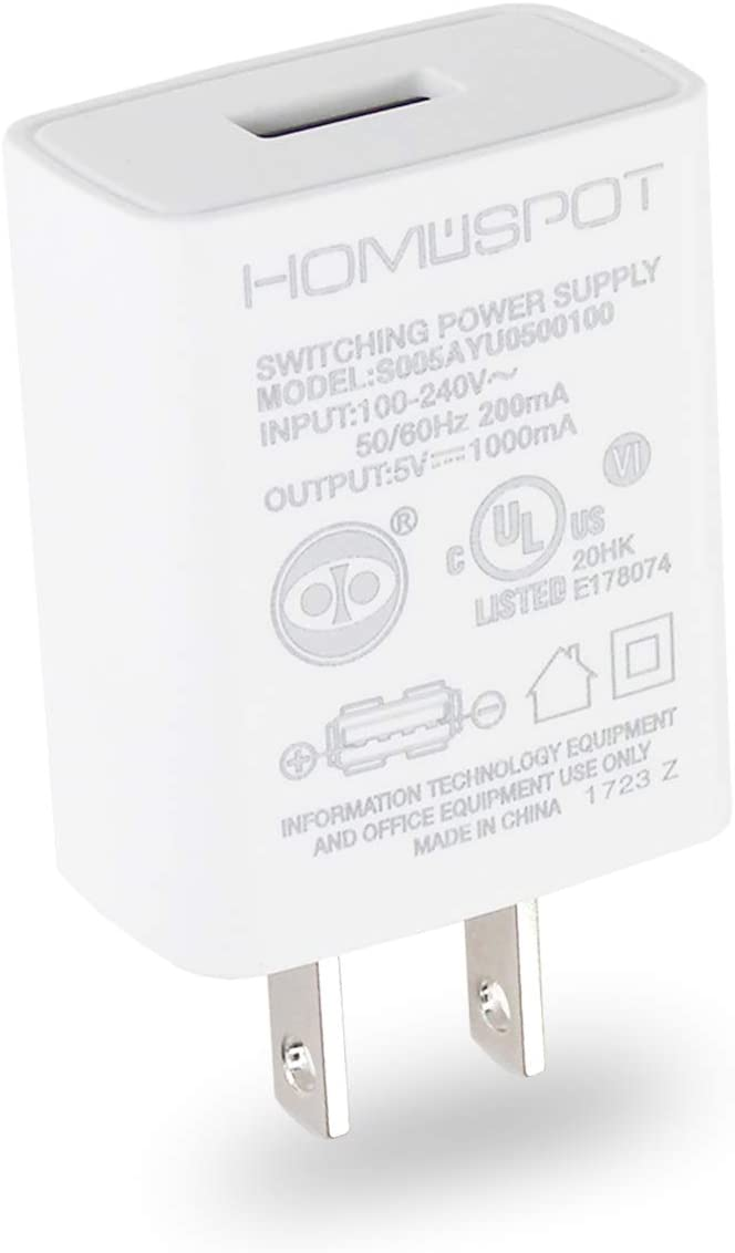 HomeSpot UL Certified USB Wall Charger 5V1A Plug in-Door Power AC Adapter Travel Office Home Use - 1 Pack White