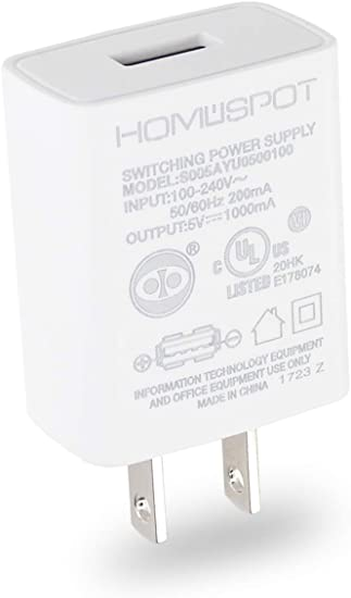 Amazon.com: HomeSpot UL - Cargador de pared USB (5 V1A), 1 ...