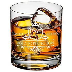 1969 50th Birthday Whiskey Glass for Men and Women – Vintage Funny Anniversary Gift Idea for Him, Her, Husband, Wife – 50 Year Old Gifts for Mom, Dad – Party Favors, Decorations – 11 oz