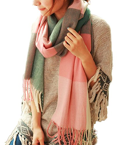 King Ma Womens Soft Plaid Long Scotland Cashmere Classical Scarf Shawl (pink and green)