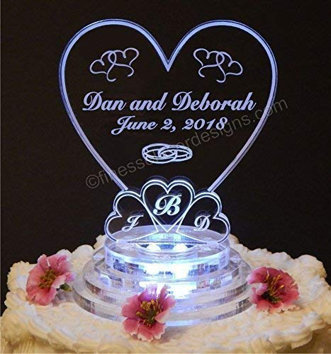 Monogram Heart Lighted Wedding Cake Topper Acrylic Cake Top Personalized Engraved