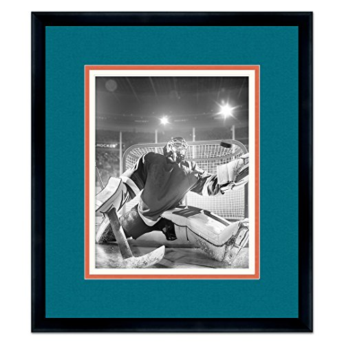 San Jose Sharks Black Wood Picture Frame with Sharks Triple Mat Made to Display 8