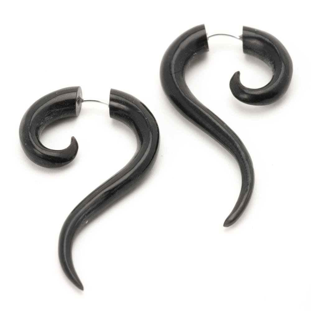 81stgeneration Women's Men's Black Horn Fake Taper Stretcher Plug Organic Spiral Tribal Earrings