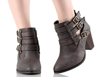 Women's Faux Leather Chunk Stacked Heel Strappy Triple Buckle Ankle Boots in Black Tan Brown