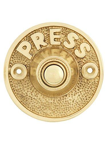 Vintage Press Door Bell Button In Polished (Brass Door Doorbell)