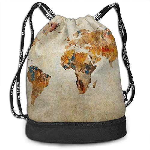 Antique Earth Map Drawstring Bag For Mens And Womens, 100% Polyester Athletic Rucksack