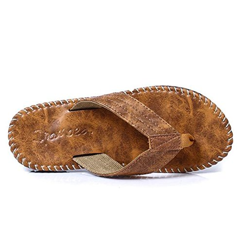 Slduv7 New Flip Flops For Men Casual Non-Slip Beach Sandals Boys Outdoor Indoor Soft Slide Shoes Camel b664y6Rh