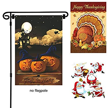 boutique_goods halloween garden flags double sided thanksgiving christmas garden flags thick non fading linen fabric - Halloween Thanksgiving Christmas
