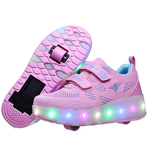 Ufatansy USB Charging Shoes Roller Shoes Girls Roller Skate Shoes Boys Kids LED Light up Wheel Shoes Roller Sneakers Shoes Wheels for Kids(13 M US = CN31, Double Wheel, Pink)