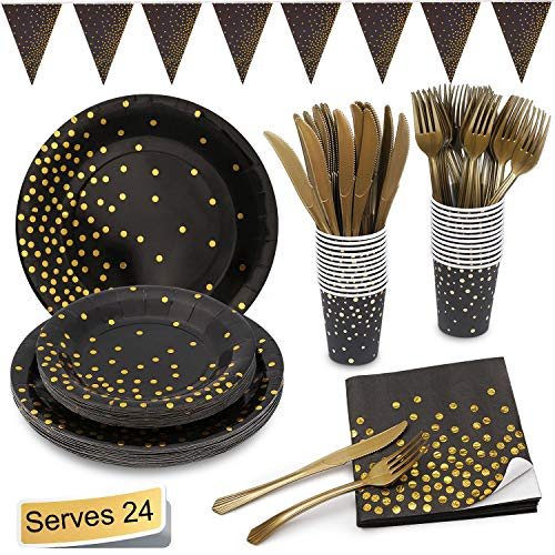 Black and Gold Party Supplies Golden Dot Disposable Party Dinnerware Includes 7
