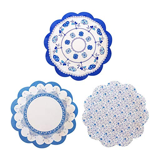 OFACL Gorgeous Vintage Floral Party Disposable Paper Dinner Plates Round Paper Tableware Dessert Luncheon Plates Set for Birthday Party Wedding,White Blue Floral Pattern,12 Pieces (And Blue Plates Floral White)