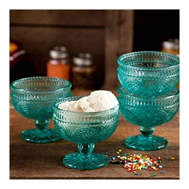 The Pioneer Woman Adeline 10 Oz Glass Sundae Cups, Set of 4 - Turquoise