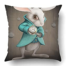 Emvency Square 18x18 Inches Decorative Pillowcases White Elegance Rabbit Indicates The Clock Cotton Polyester Decor Throw Pillow Cover With Hidden Zipper For Bedroom Sofa