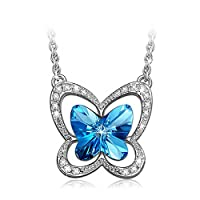 """LadyColour """"Blue Butterfly"""" Lovely Butterfly Pendant Necklace For Girls&Women, Made With Swarovski Crystals"""