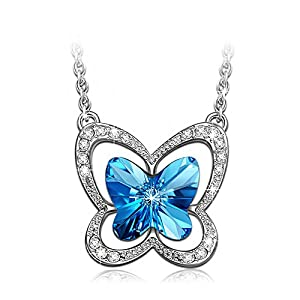 "Ratings and reviews for LADY COLOUR ""Blue Butterfly"" Necklace Made with SWAROVSKI Crystals-[Gift Packing]"