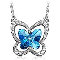LadyColour Blue Butterfly Pendant Necklace Made with Swarovski Crystals