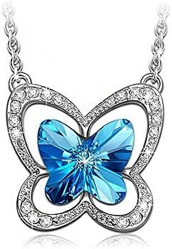 LadyColour Blue Butterfly Pendant Necklace