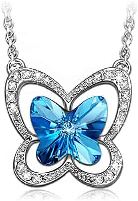 LADY COLOUR Blue Butterfly Necklace Made with SWAROVSKI Crystals-[Gift Packing]