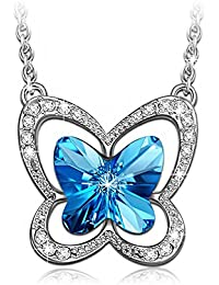 """Blue Butterfly"" Necklace Made with SWAROVSKI Crystals-[Gift Packing]"