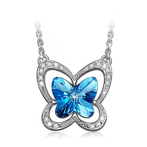 Christmas Gifts Swarovski Crystals Necklace, LadyColour Blue Butterfly Pendant Necklace Jewelry for Women Teen Girl Birthday Gifts for Girlfriend Girls Daughter Niece Granddaughter Sister Best Friend (Butterfly Child Pendant)
