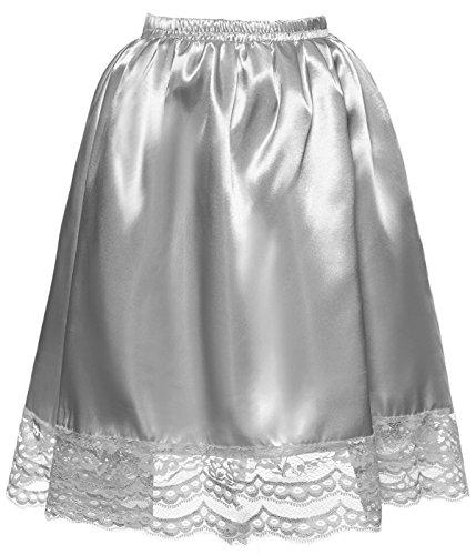 DYS Women's Satin Slip Short Petticoat Skirt Underskirt Lace Hem Many Colors Silver S/M