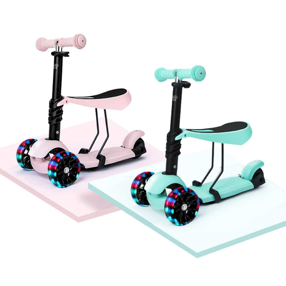 Yunhoo Scooters for Kids Kick Scooter with Removable Seat 2-in-1 Adjustable Height Kids Scooter Toddler Scooters for Boys and Girls by Yunhoo
