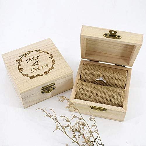 Caja de Madera rústica Personalizada para Anillos de Compromiso, Boda Caja de Almacenamiento Personalizada con Nombre y Fecha grabada para Portador de Anillos: Amazon.es: Hogar