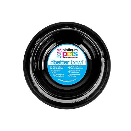 Stainless Steel Embossed Dog Bowl - Platinum Pets 6.25 Cup Embossed Non-Tip Stainless Steel Dog Bowl, Midnight Black