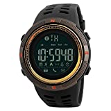 Electronic Fitness Tracker Digital Sports Bluetooth Smart Watch Waterproof Pedometer Remote Camera Incoming Call or Message Alert Reminder for iOS & Android Smartwatch Men & Women (Black & Brown)
