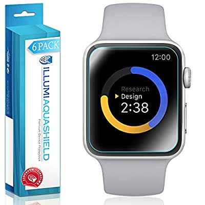 Apple Watch Screen Protector 38mm [6-Pack], (Series 3/2/1 Compatible) ILLUMI AquaShield Full Coverage Screen Protector for Apple Watch HD Anti-Bubble Film Military-Grade Self-Healing UV-Resistant
