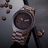 BIOSTON Natural Black Sandalwood 47.5mm Light Weight Vintage Wood Watch Men Size