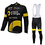 2016 Direct Energie LongThermal Fleece Cycling Jersey Long Sleeve Ropa Ciclismo Winter and Cycling bib Pants ropa ciclismo thermal ciclismo jersey thermal (M)