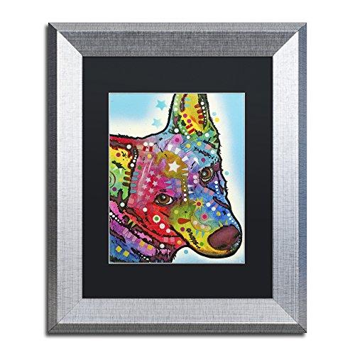 Trademark Fine Art Aussie Sheep Dog by Dean Russo, Black Matte, Silver Frame 11x14-Inch