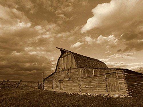 Posterazzi Poster Print Collection Mormon Row Barn, Grand Teton National Park, Wyoming-Sepia Tim Fitzharris, (9 x 12), Varies