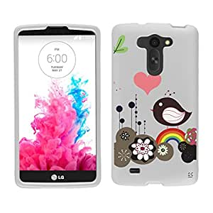 Premium Protection Slim Light Weight 2 piece Snap On Non-Slip Matte Hard Shell Rubber Coated Rubberized Phone Case Cover With Design For LG G Vista VS880/ LG D631 - Rainbow Bird - White - Retail Packaging