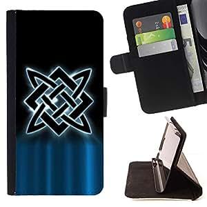 For Samsung Galaxy S4 Mini i9190 (NOT S4) Case , Nordic tribal- la tarjeta de Crédito Slots PU Funda de cuero Monedero caso cubierta de piel