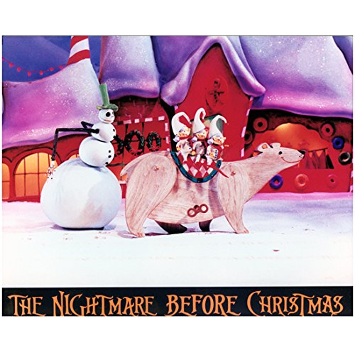 Nightmare Before Christmas Costumes Lock Shock And Barrel (Jack Skellington Snowman Costume In Christmas Town with Elves and Wooden Wind Up Polar Bear Walking - Nightmare Before Christmas 8x10 Photograph - Professional Quality - NMBC)