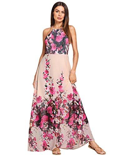 6e655c649f3 Floerns Women s Sleeveless Halter Neck Vintage Floral Print Maxi Dress -  Buy Online in UAE.